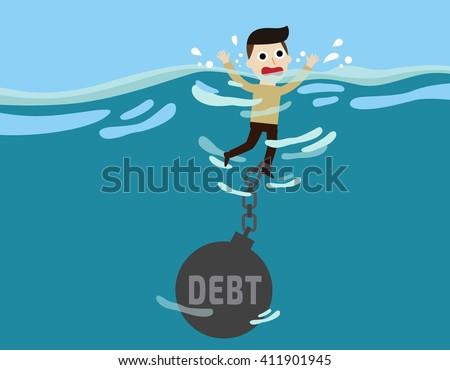 debt. cute cartoon design illustration. - stock vector