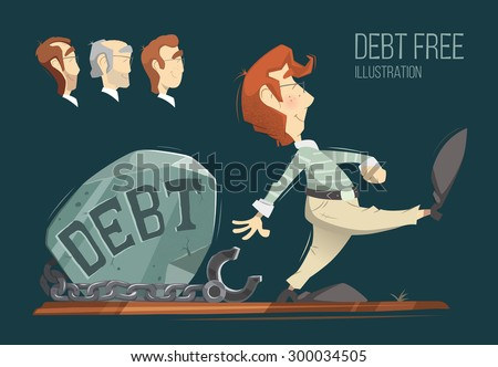 Debt free freedom color vector illustration concept. - stock vector