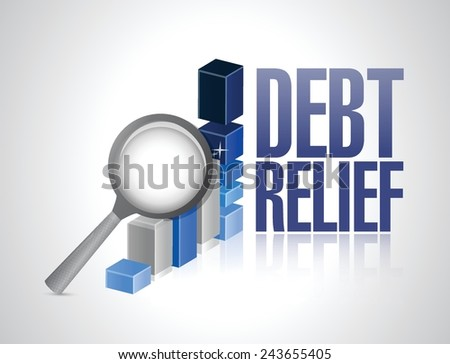 debt relief business graph magnify review illustration design over a white background - stock vector