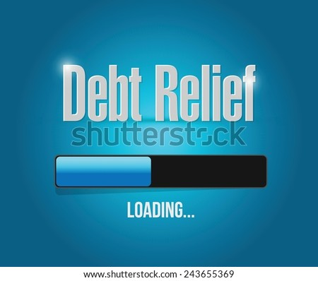 debt relief loading bar illustration design over a blue background - stock vector
