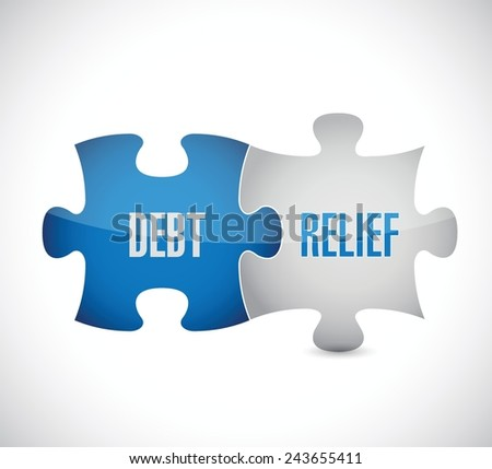 debt relief puzzle pieces illustration design over a white background - stock vector