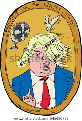 Dec. 27, 2016. Caricature portrait of Donald Trump with hair blowing in wind and bird trying to land on it