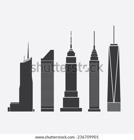 Dec 09, 2014: Collection of Icons of Five Famous Skyscrapers: Bank of America Tower, Citigroup Center, Empire State Building, Chrysler Building, One World Trade Center - For Editorial Use Only - stock vector