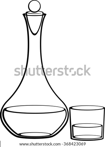 decanter with stopper and glass - stock vector