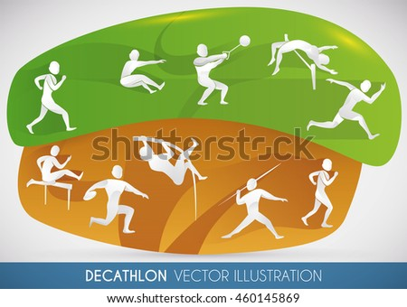 Decathlon design showing all disciplines played in the two-day competition: 100 metres, long jump, shot put, high jump, 400 metres, 110 metres hurdles, discus throw, pole vault, javelin throw, 1500m. - stock vector