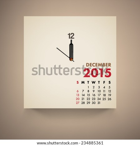 December 2015 Calendar Clock Design Vector  - stock vector