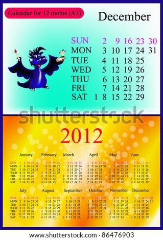December. 2012 Calendar.Dark blue dragon-New Year's a symbol of 2012. A3 - stock vector