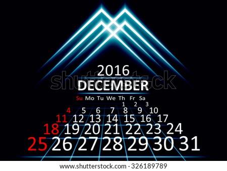 december 2016 calendar dark technology 3d style abstract background. Vector Illustration. - stock vector