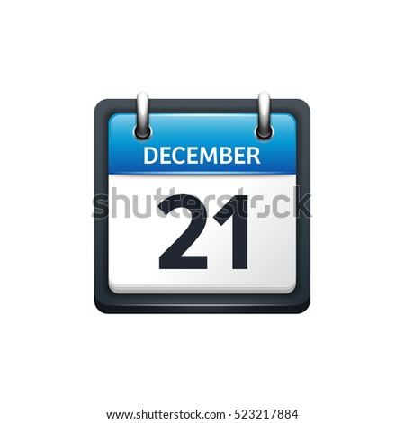December 21 Calendar IconVector Illustrationflat StyleMonth And Date