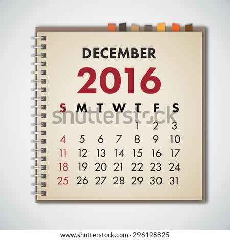 December 2016 Calendar Notebook Vector  - stock vector