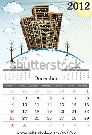 December. 2012 Calendar. Souvenir fonts used. A3 - stock vector