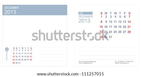 December 2013 Calendar Vector - stock vector