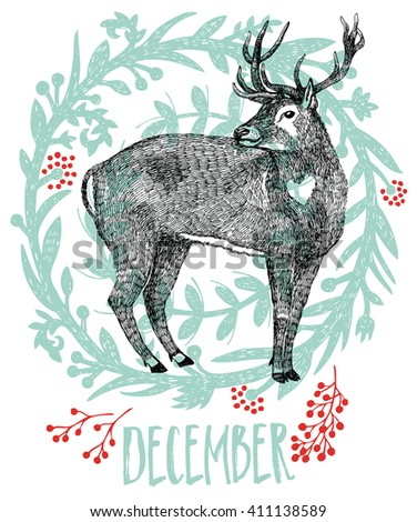 December Deer in a winter forest Sketch style - stock vector