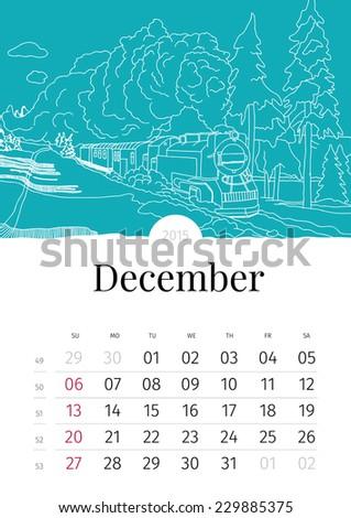 December. Hand drawn calendar. 2015 - stock vector