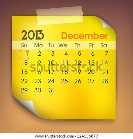December month calender 2013. EPS 10. - stock vector