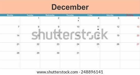 December 2015 planning calendar. Illustration - stock vector