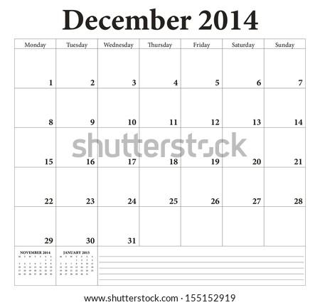 December 2014 -planning calendar. Weeks start on Monday. - stock vector