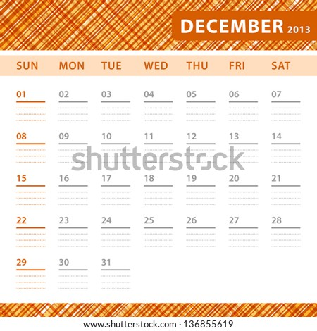 December 2013 planning calendar with space for notes. Checked orange texture in background. - stock vector