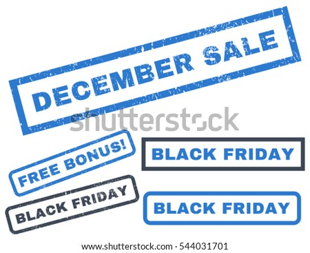 December Sale rubber seal stamp watermark with bonus banners for Black Friday sales. Vector smooth blue signs. Text inside rectangular banner with grunge design and dirty texture.