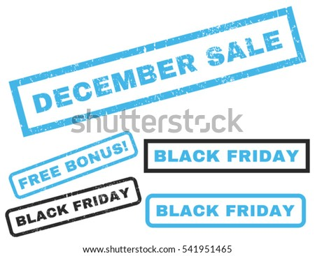 December Sale rubber seal stamp watermark with bonus images for Black Friday offers. Vector blue and gray emblems. Caption inside rectangular shape with grunge design and dirty texture.