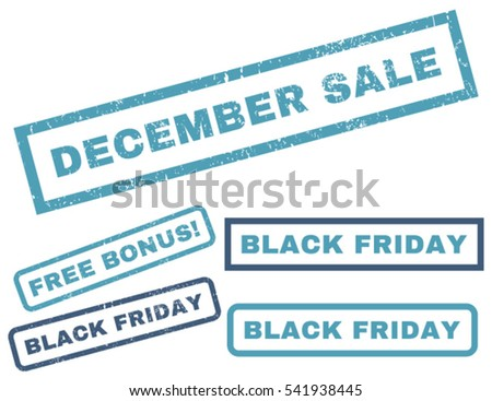 December Sale rubber seal stamp watermark with bonus images for Black Friday sales. Vector cyan and blue stickers. Caption inside rectangular banner with grunge design and unclean texture.