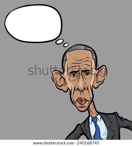 DECEMBER 20, 2014: vector illustration of president Barack Obama looking frustrated - stock vector