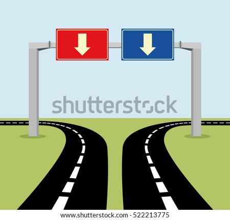 Decision concept road signs, red or blue, left or right