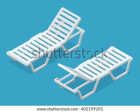 Deck chair, Beach chaise longue, Sun lounger, Deckchairs, Beach Chair, sunbed. Beach chairs isolated on white background. Plastic beach chaise longue Flat 3d isometric illustration. - stock vector