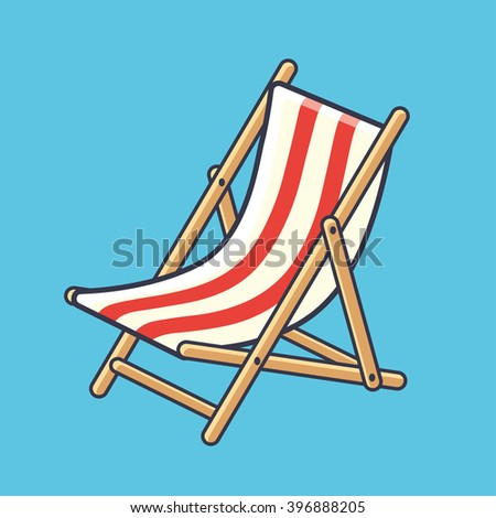 Deck chair icon on a blue background. - stock vector
