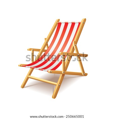 Deck chair isolated on white photo-realistic vector illustration - stock vector