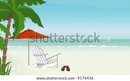 Deck chair on a tropical beach with flip-flops--sailboat in distance; Easy-edit layered file. Lots of copy space.