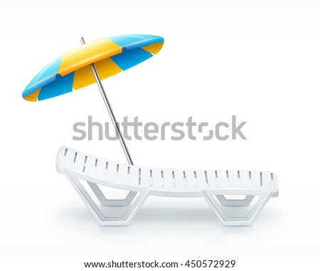 deck-chair with umbrella beach inventory. isolated on white background. eps10 vector illustration