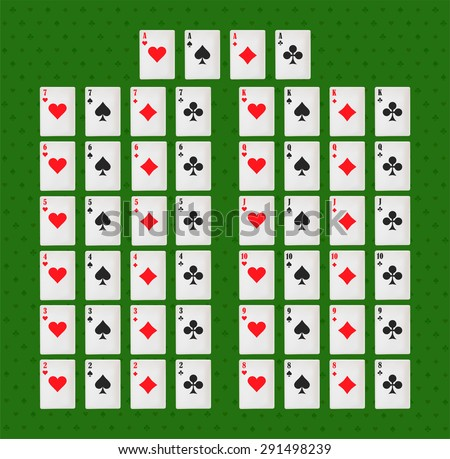 Deck of card. playing cards on green backgraund. poker and casino - stock vector
