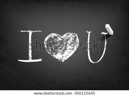 Declaration of love. Vector hand drawn illustration. Chalk on a blackboard - stock vector