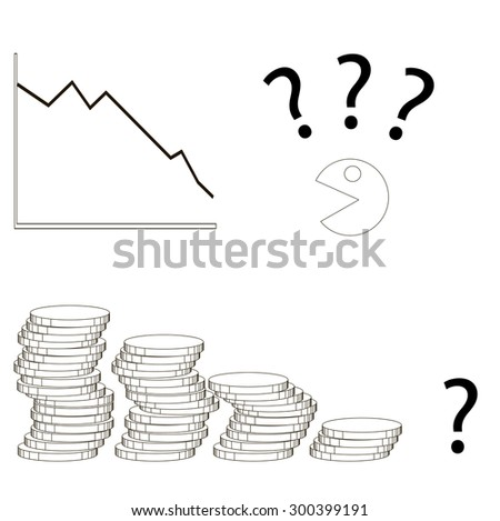decline in profits in the business graph and money - stock vector