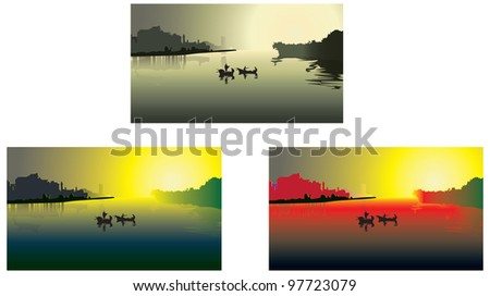 Decline on the river - stock vector