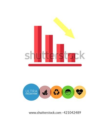 Declining bar chart - stock vector