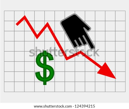 Declining equity price of dollar - stock vector