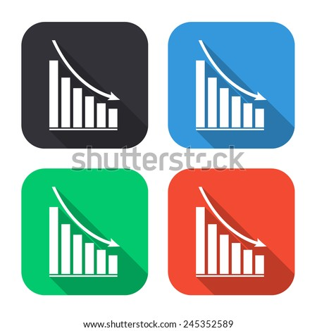 declining graph icon - colored illustration (gray, blue, green, red) with long shadow - stock vector