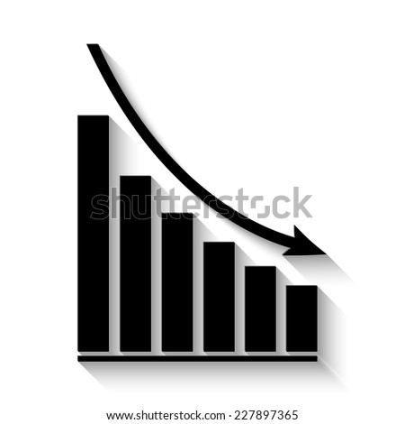 declining graph icon - vector illustration with shadow - stock vector