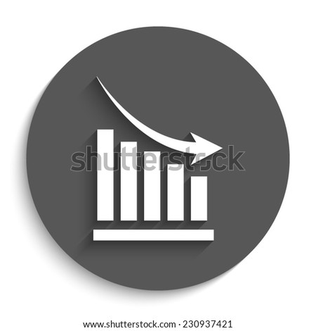 declining graph - vector icon with shadow on a round grey button - stock vector