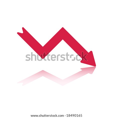 Declining Right Pointing Red Arrow Reflecting off Bottom Plane - stock vector