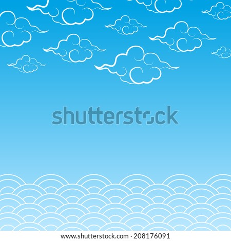 Decorate clouds and sea with Asia style - stock vector