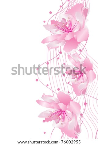 decorate side with pink flowers vector - stock vector
