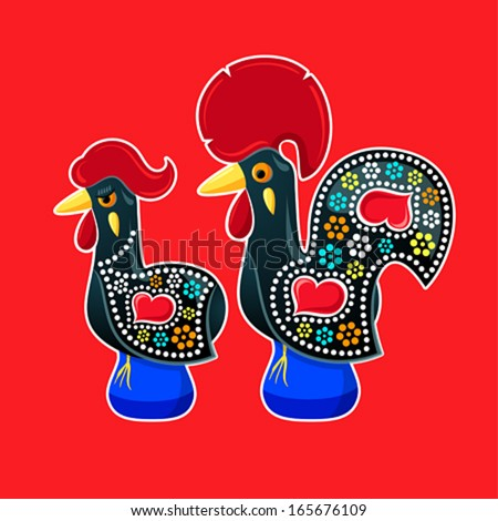 Decorated Barcelos rooster and hen - symbols of Portugal - stock vector