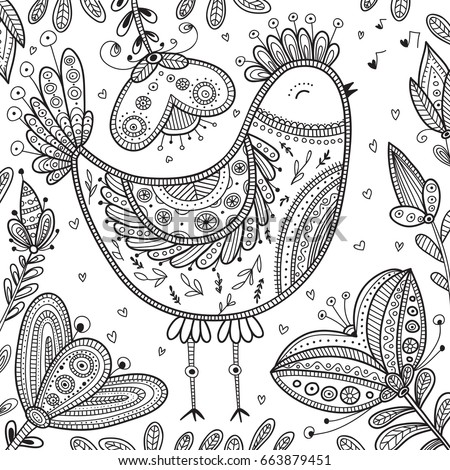 Decorated Bird Illustration In Ethnic Boho Style Can Be Printed And Used As Coloring Page