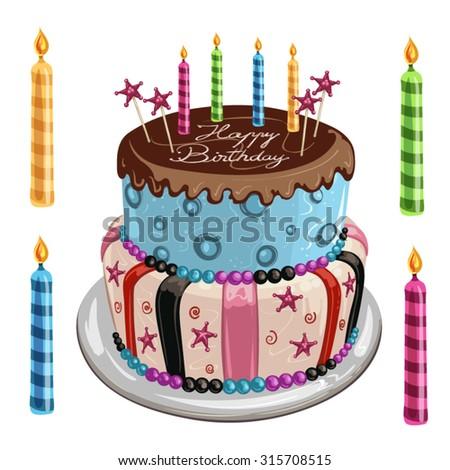 Decorated birthday cake - stock vector