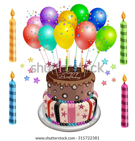 Decorated birthday cake with balloons - stock vector