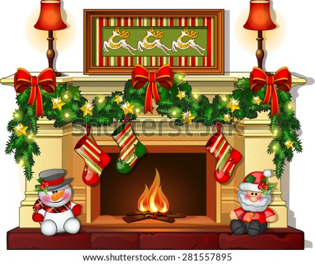 decorated Christmas fireplace - stock vector