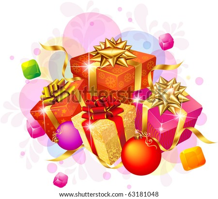 Decorated Christmas gifts with gold and red ribbons. Vector. - stock vector